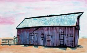 Big Barn with Pink Sky